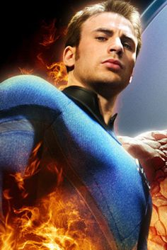 Chris Evans (as the Human Torch, fantastic four) wait a minute he's better at being Cap!