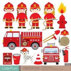 Firefighters Digital Clipart Fireman Clipart by LittleMoss on Etsy