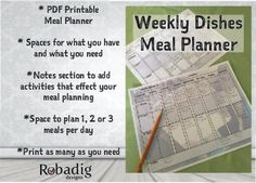 You have so much going on every week! Simplify your meal planning with this simple and very effective weekly meal planner. Plan three meals a day or just plan dinner ... the choice is yours! Works great as a Camping Meal Planner too!  This planner is unique in that it helps you manage your ingredients. There are spaces to list the ingredients you have and those you need. Use that to make your weekly shopping list.  As an extra special addition there is also a notes section that you can list…