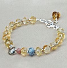 Citrine Kyanite Andalusite Whiskey Quartz Pyrite 925 Silver Bracelet U& Sundance #YuliyaDesigns #Beaded