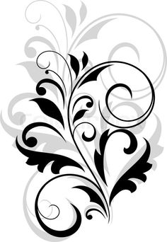 Stock vector of 'Floral motif of leaves and swirl flourishes over white'