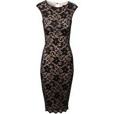 Jane Norman Lace Bodycon Midi Dress ($50) found on Polyvore