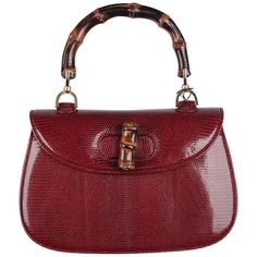 GUCCI VINTAGE RARE Burgundy Lizard BAMBOO BAG Top Handle Handbag PURSE | From a collection of rare vintage top handle bags at https://www.1stdibs.com/fashion/handbags-purses-bags/top-handle-bags/