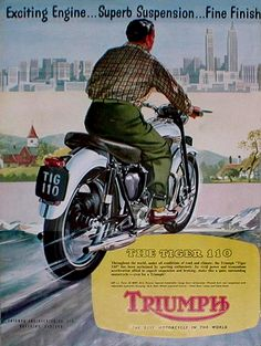 50's MOTORCYCLE ADVERTISING Motorcycle Posters, Motorcycle Art, Motorcycle Design, Classic Motorcycle, Classic Bikes, Vintage Bikes, Vintage Motorcycles, Vintage Ads, Vintage Posters