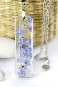 Forget-Me-Not, Flower Necklace. Real Flower, Wedding Necklace, Mother of Bride Gift, Remembrance Necklace, Something Blue, Blue Necklace!