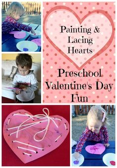 Ready for some preschool fun for Valentine's Day? Try this painting and lacing hearts activity with your kids for artistic play & fine motor skill practice.