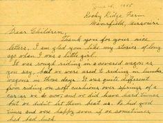Parte de una carta escrita por Laura Ingalls Wilder. Totalmente la misma caligrafía que nos enseñaron en segundo grado!