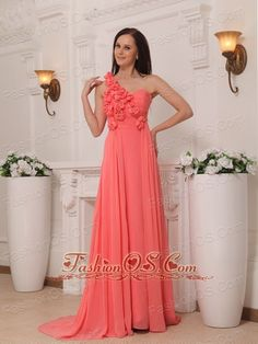 Buy romantic watermelon brush train chiffon junior prom dress with flowers from pretty prom dresses shop, one shoulder neckline empire watermelon red prom dress,cheap prom formal evening graduation dress with side zipper back and bush train. Dama Dresses, Junior Prom Dresses, Girls Pageant Dresses, Prom Dresses For Sale, Prom Dresses Online, Prom Party Dresses, Homecoming Dresses, Dress Online, Graduation Dresses