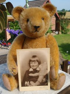 Vintage Hermann Teddy with picture of original owner. Photo via Ebay (How great is that!?)