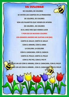 Versos de primavera cortos para los pequeños Dual Language, Poetry Poem, Spanish, Diy, Alphabet, Frases, Children Poems, Nursery Rhymes, Short Stories