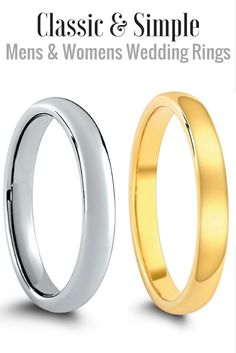 Both Mens and Womens classic wedding bands. Made out of materials that will last forever... tungsten carbide. Classic wedding rings come in all widths.