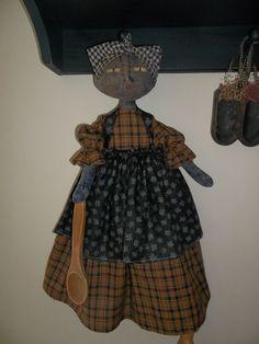 PRIMITIVE RAGGEDY BLACK FOLK ART BAGHOLDER MAMMY DOLL-1 #BlackFolkArt
