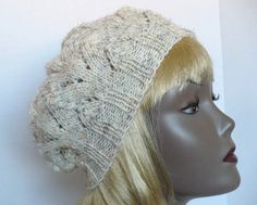 Hand Knit Hat, Soft Knit Tam in Winter Wheat - by MarieAntoinknit for 9ElizabethStreet Fashions