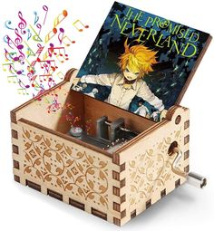 """💓PRECIOUS GIFT - The meticulous and adorable design """"The Promised Neverland"""" classic color painted animated character was engraved on each music box.This Hank Crank Music Box is a Exquisite Gift that Every The Promised Neverland Fans would love to get 💓Music Play: No battery install, just play music by manual, The Isabella's Lullaby tune will play clearly, the rhythm will vary from the speed you shake the crank. #animegirl #thepromisedneverland #anime #musicbox #gift #gifts #giftideas #art"""