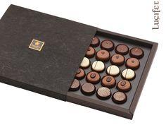 Lux praline box 5x5  #truffles #artisan #handmade #chocolate #pralines #luciferchocolate Eyeshadow, Packaging, Chocolate, Eye Shadow, Eye Shadows, Chocolates, Wrapping, Brown