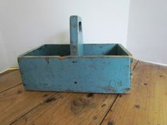 FABULOUS BLUE PAINTED DIVIDED TABLE BOX