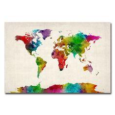 Michael tompsett paint splashes world map canvas art overstock michael tompsett watercolor world map ii canvas art overstock shopping gumiabroncs Images