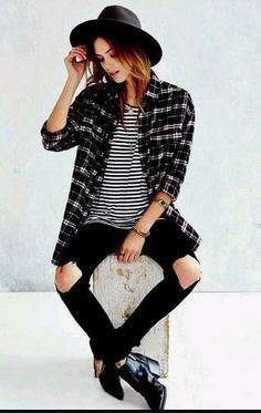 plaid shirt + striped t-shirt + black jeans + chelsea boots