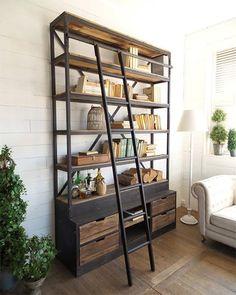 Libreria industriale in offerta libreria da soggiorno e salone componibile in ferro industriale e in legno di teak con scala in ferro