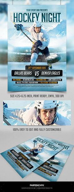 Hockey Night Flyer Template PSD   Buy and Download: http://graphicriver.net/item/hockey-night-flyer-template/8970523?WT.ac=category_thumb&WT.z_author=Parfienchyk&ref=ksioks