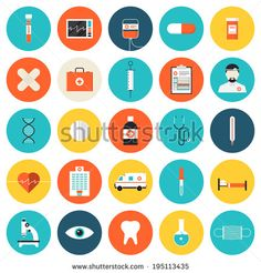 Flat icons set of medical tools and healthcare equipment, science research and health treatment service. Modern design style symbol collection. Isolated on white background.