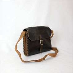 distressed black leather satchel / whipstitch edging by OmniaVTG