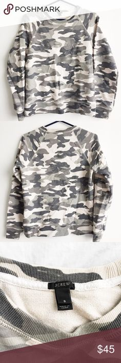 J. CREW Camo Print Sweatshirt Super-comfy sweatshirt with muted/neutral camo print that's versatile enough for brunch, Casual Friday at work, or to throw on after your workout. Looks great with white jeans and your favorite Converse. Almost like new - no obvious signs of wear and tear. J. Crew Tops Sweatshirts & Hoodies