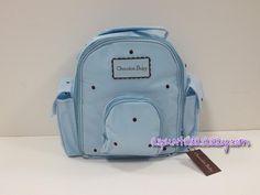 Mochila cambiador Chocolat Baby azul celeste con bodoques bordados en color marrón