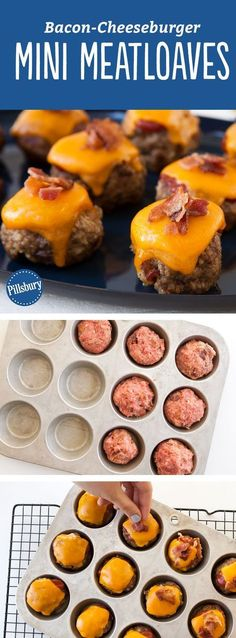 These mini bacon-cheeseburger meat loaves are the dinnertime solution your family needs. Topped with melted Cheddar cheese and sprinkled with chopped, cooked bacon, you're going to have the whole family grabbing for seconds! Looking for a shortcut? You can make the meat mixture earlier in the day for convenience, and bake later; keep refrigerated.