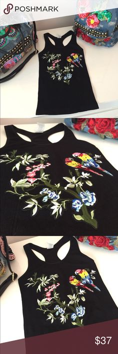 Embroidered racerback tank top NWT Super fun tank top made out of super high quality stretch. One size fits most. Also available in white Tops Tank Tops