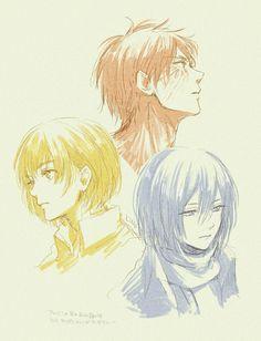 eren mikasa and armin | ... no Kyojin, Mikasa Ackerman, Eren Jaeger, Armin Arlert. WAH, SO CUTE