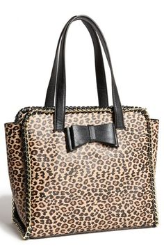 Brown Leopard Leather Tote Bag by Betsey Johnson. Buy for $85 from Nordstrom