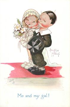ME AND MY GAL!  boy & girl smartly dressed stand on red carpet facing left, looking front  - Art by BEATRICE MALLET