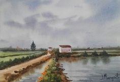 Acuarela 25x35 cm. El Fangar. Delta del Ebro