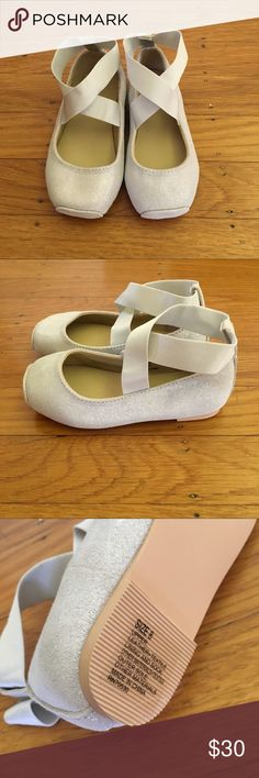 Silver ballerina shoes Light grey silver metallic pointe shoe shaped ballet flats.  Suede with crossed elastic straps.  Perfect with a dress from my closet for Easter, a birthday party or wedding flower girl!  NWOT Janie and Jack Shoes Dress Shoes