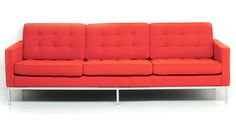 red tufted couch.  Love.