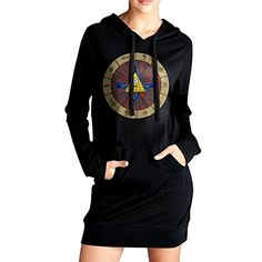 HHKU Womens Gravity Falls Bill Cipher Sweatshirt Pockets Hoodie Dress Black Size XL ** Read more  at the image link. (This is an Amazon affiliate link)