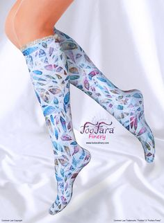 "♥ These cute, colorful, elegant, socks, are made with a soft and silky lightweight technical fabric that is moisture wicking and offers U.V. protection. ""Spirit Leaves"" print.♥"