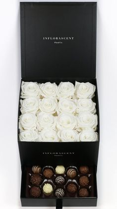White Roses in a Box! Luxury gift with chocolates! Real roses that last a year! Maybe minus the chocolate