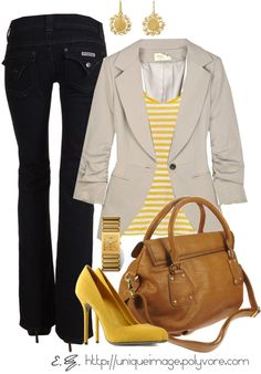Pop of Yellow, created by uniqueimage on Polyvore