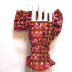 #Valentine Fingerless #Crochet Gloves - Computer Gloves.
