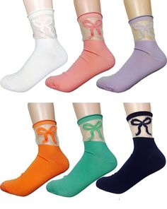 MIRINE Women Summer Ribbon Pattern See-through Socks (6 options) #MIRINE #SeethroughSocks