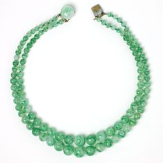 Rousselet Vintage Jewelry - Green Bead 2-Strand Necklace