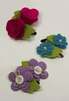 Felt Flower Hair Clips by yvette