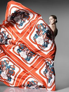 Hermes scarves shoot3 Iselin Steiro Models Hermès Printed Scarves for Spring 2014 Catalogue.
