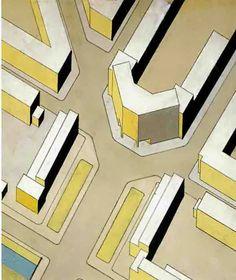 The Hague, housing area Molensloot. Cornelis van Eesteren, 1928. Axonometry Eerensplein.
