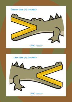 Twinkl Resources >> Greater Than and Less Than Crocodiles >> Classroom printables for Pre-School, Kindergarten, Elementary School and beyond! Teaching Tips, Teaching Math, Homework Center, Homeschool Kindergarten, Homeschooling, National Curriculum, Sign Display, Montessori Materials, 1st Grade Math