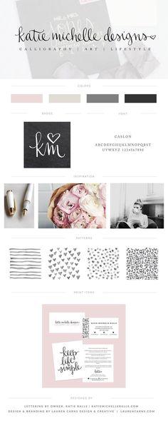 Katie Michelle Designs Brand Board | Lauren Carns Branding & Design services | watercolor artist, calligrapher, handletterer branding, pink, black, crisp, feminine.