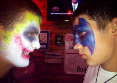 "Joker vs. Batman - Professional Face Painting!  Visit www.facebook.com/facepaintdesigns or artmeohio.wix.com/artme to book your event today!  ""Art, me!"" Professional Face Paint Art & more! - Kirstene Adkins Professional Face Paint, Carnival, Joker, Batman, Facebook, Painting, Art, Art Background, Carnavals"