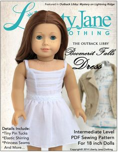 Pixie Faire Liberty Jane Clothing Boomerit Falls Dress Doll Clothes Pattern for 18 inch American Girl Dolls - PDF American Girl Clothes, Girl Doll Clothes, Girl Dolls, Ag Dolls, American Girls, Sewing Dolls, Doll Dress Patterns, Clothing Patterns, Sewing Patterns